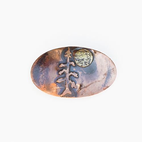 Handmade Artisan Crafted Solid Copper Tree With Moon Barrette