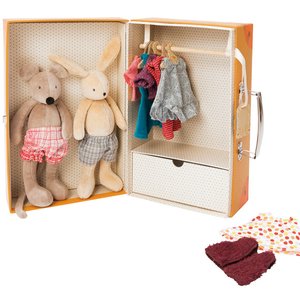 "This beautifully illustrated suitcase opens to reveal a mini wardrobe containing stuffed mouse and rabbit dolls and several outfits to dress them up in! Complete with a drawer and hanging space, your little one can mix and match clothing for the many adventures they're sure to send them on.  Features:  Armoire suitcase made of sturdy printed cardboard Imported from France Ages 3+ 7"" x 11"" x 5"""