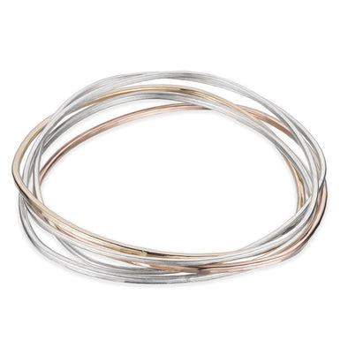 5 Interlocking Necto Bangles in Gold, Rose Gold and Silver