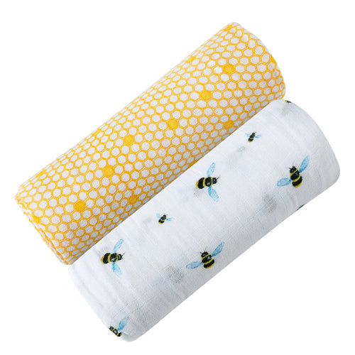 Certified Organic Cotton Muslin Baby Swaddle 2 Pack - Busy Bees