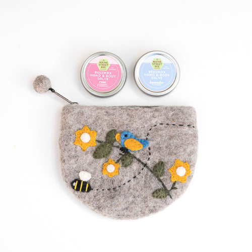 Felted Wool Bluebird Bee Bag + Maine Street Bee Hand Salve Gift Set - Handcrafted Fair Trade