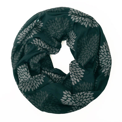 Infinity Scarf - Double Flowers on Deep Green