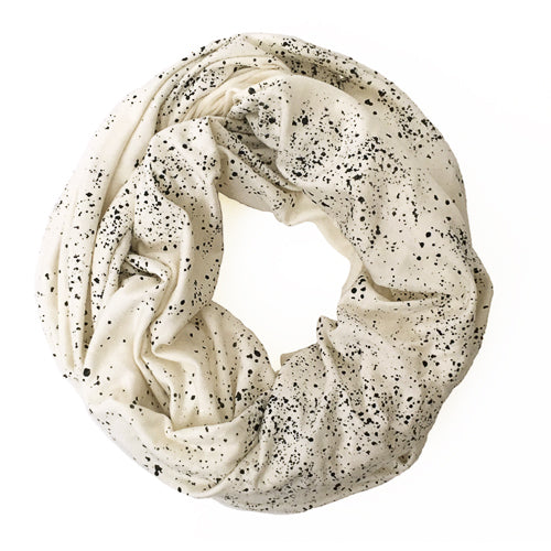 Infinity Scarf - Black Seaspray on Cream