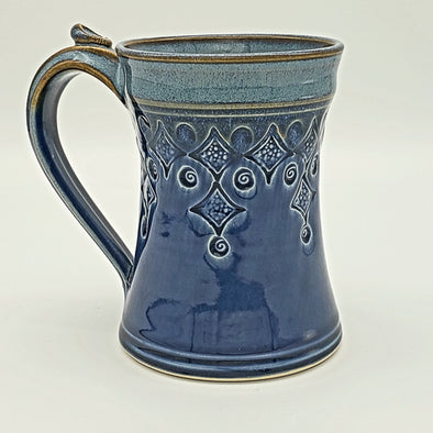Handmade 8oz Ceramic Mug with Diamond Pattern