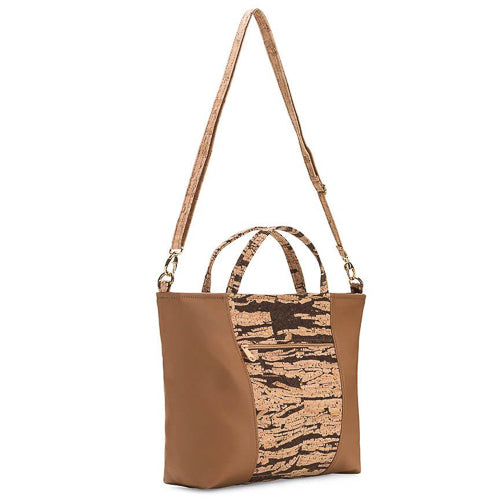 "Handmade from renewable, eco-friendly cork in Massachusetts.   Cork fabric Eco-friendly + PVC-free faux leather Organic cotton lining One outside zipper pocket Two inside slip pockets Removable and adjustable strap Zipper closure 11""H x 15.5""W x 4""D"
