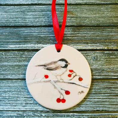 Hand Painted Chickadee with Red Berries Ornament