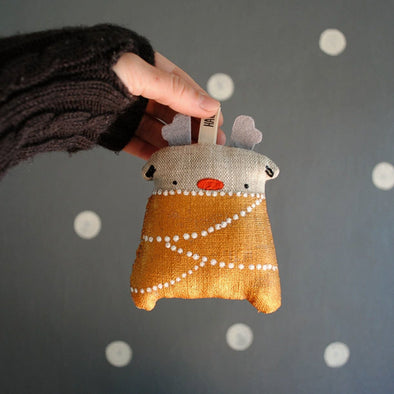 Hand Painted Linen Reindeer Ornament