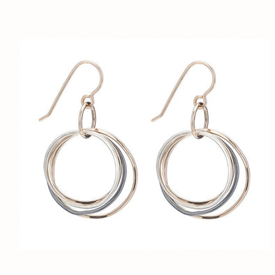 Gold, Silver & Black Triple-Hoop Earrings