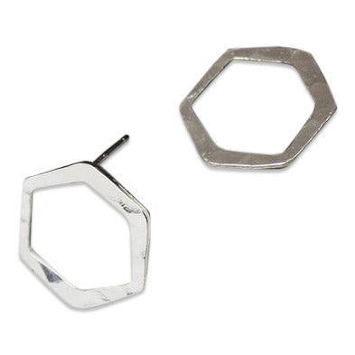 Handmade in the USA, recycled silver honeycomb stud earrings. A sustainable keepsake for you or a loved one.