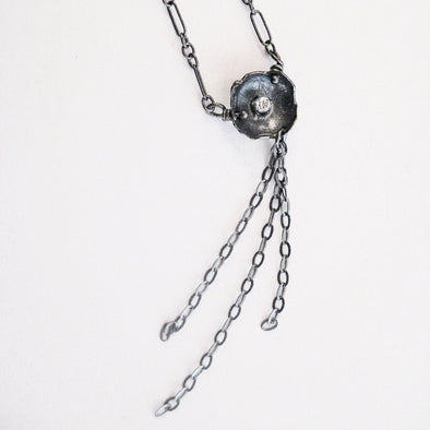 Tiny Eggshell Waterfall Necklace - Oxidized Sterling Silver