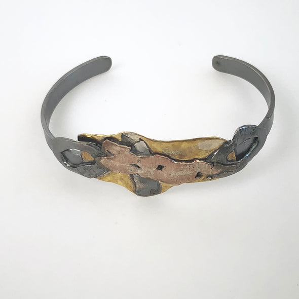 Elenor Oxidized Sterling and Patina Brass Cuff