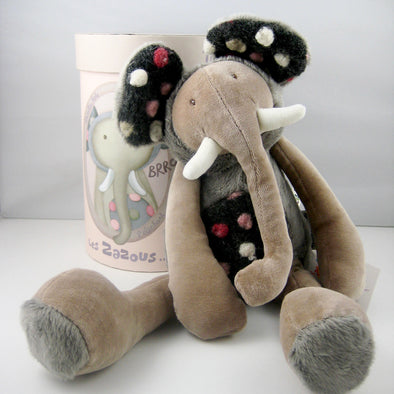 "13"" Non-toxic soft stuffed Elephant doll, Les Zazous, from Moulin Roty would make a unique keepsake gift for baby or toddler."