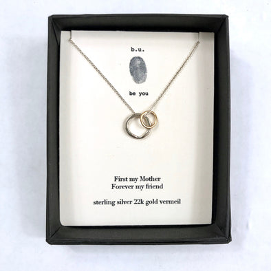"""First My Mother, Forever My Friend"" - Gold + Silver Necklace"