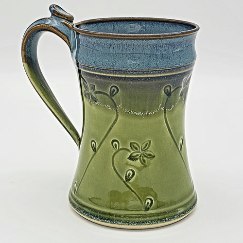 Handmade 8oz Ceramic Mug with Floral Pattern