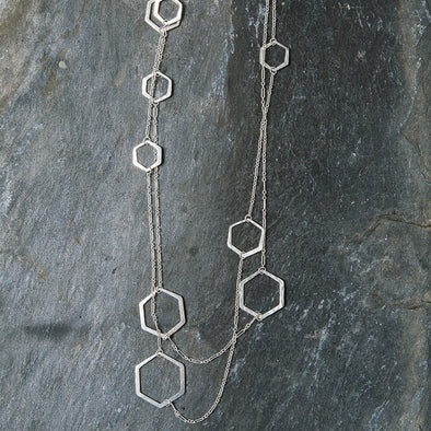 Extra Long Hex Necklace - Sterling Silver