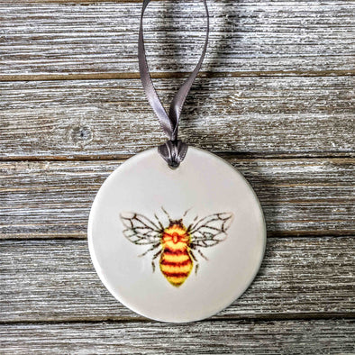 Hand Painted Honey Bee Ceramic Ornament