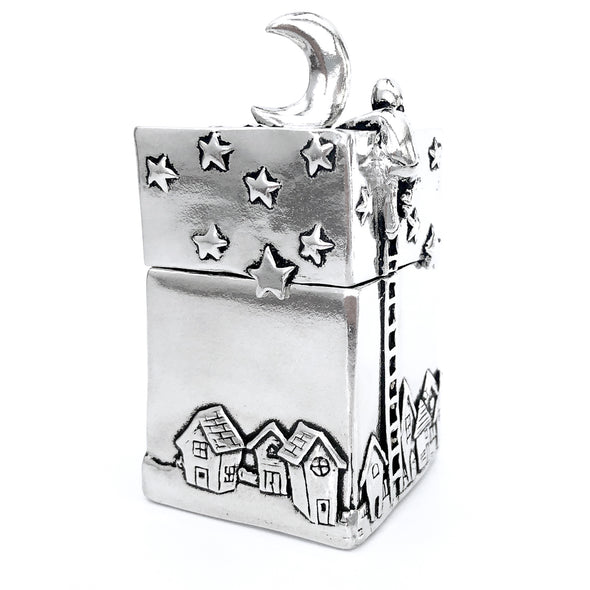 "Upright Rectangle Pewter Box with 3-D person ""climbing to the moon"" design on the lid. Stars, Moon and Landscape surround the Box. Extraordinarily beautiful!  (Makes me think of the ""Papa, will you get the moon for me?"" story)  Measures 1.75""w x 1.75""d x 3.5""h A simply beautiful gift!"