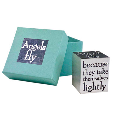 100% lead-free fine pewter paperweight handcrafted in the USA in Vermont. A thoughtful graduation gift or beautiful office decor. Quote reads: how can angels fly -- because they take themselves lightly.