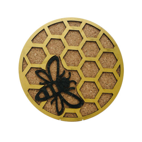 Gold Honeycomb Cork Trivets or Coaster Set