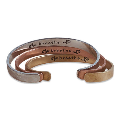 "Hand-Stamped ""Breathe"" Cuff Bracelet (3 Colors)"