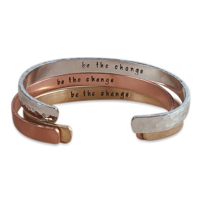 "Hand-Stamped ""Be the Change"" Cuff Bracelet (3 Colors)"