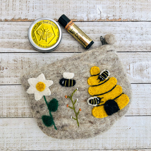 Honey Lotion and Lip Butter in Wool Bee Bag Gift Set