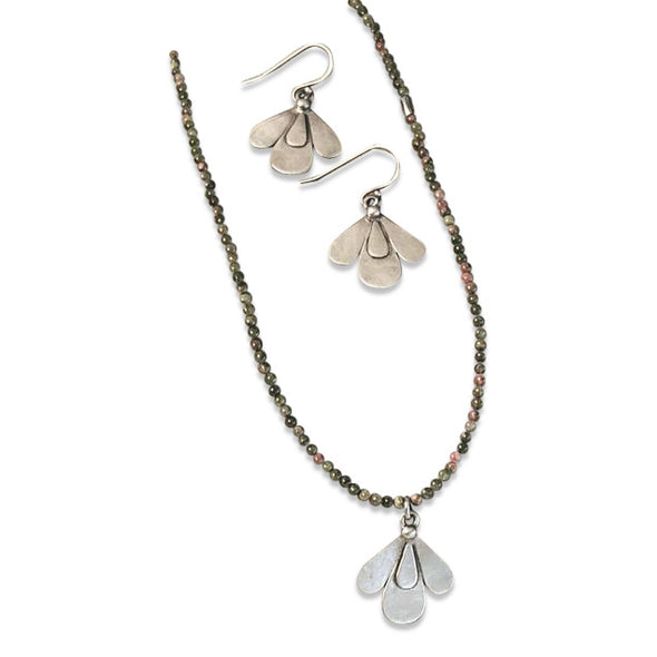 Petals Earrings and Necklace by Julia Britell