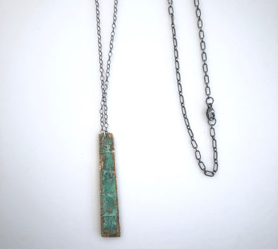 Kendra Oxidized Sterling and Patina Brass Necklace