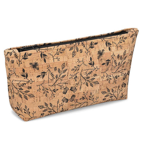 Be Organized Large Cork Floral Print Zip Pouch