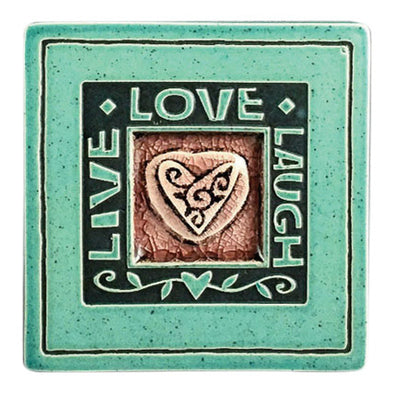 Handcrafted Ceramic Coaster | Live - Laugh - Love