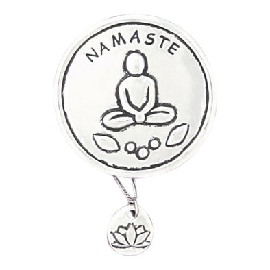 Pewter 'Namaste' Wish Box + Lotus Necklace