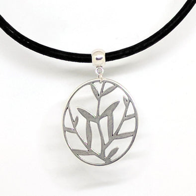 Cork Necklace With Leaves Pendant