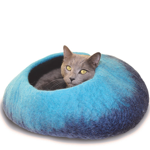 Navy and Turquoise Ombre Felted Wool Cat Cave