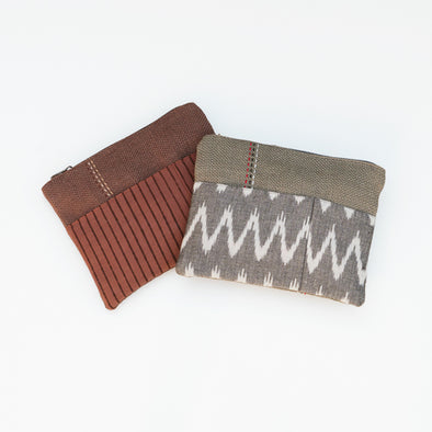 "Artisan Jute Zipper Pouches - ""Aasha"" - Zig Zag and Stripe"