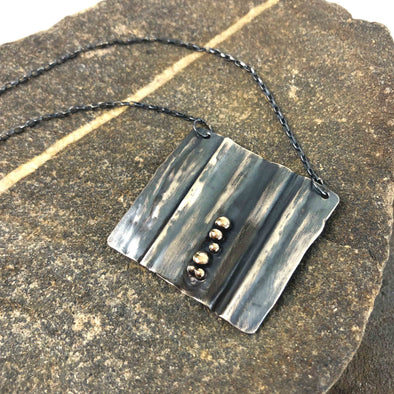 Pebbled Square Sterling Necklace by Union Studio Metals