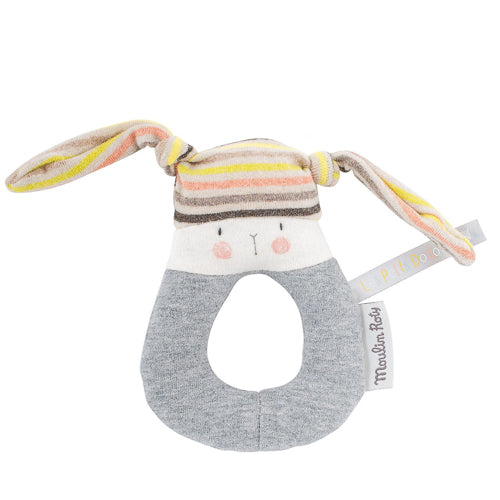 Striped Rabbit Ring Rattle from Moulin Roty