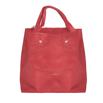 Bold 2-Way Vegan Leather Tote - Red