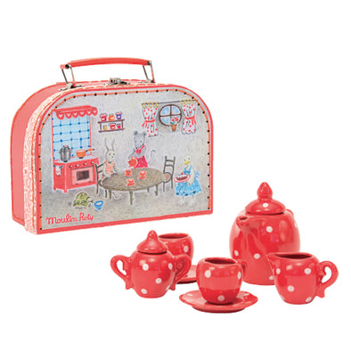 This Heirloom quality painted, ceramic tea-set is housed in a sturdy cardboard suitcase decorated with illustrations of Moulin Roty's Grand Famille. The case measures 9-inches long by 7-inches wide by 4-inches deep and is safe for tots aged 3 and up. This red polka-dotted set contains an adorable teapot, 2 cups with saucers, a creamer and a sugar bowl.  All you need besides your little one, is a handful of stuffed animals.                Voila! A Tea Party!  Age: 3+