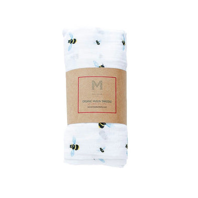 Certified Organic Cotton Muslin Baby Swaddle - Bee
