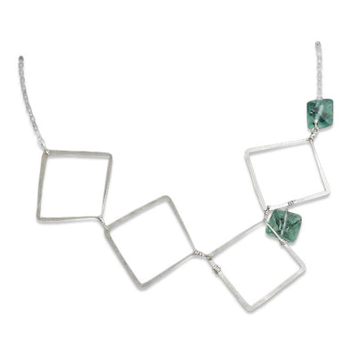 Sterling and Green Fluorite Asymmetrical Necklace
