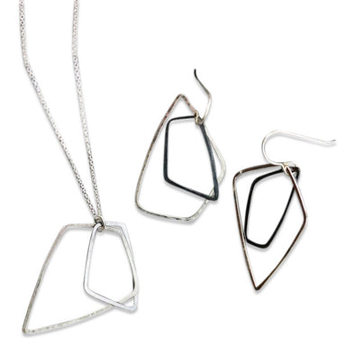 AKARA Necklace and Earrings in Sterling and Oxidized Silver, Petite