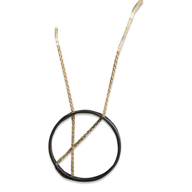 INNER CIRCLE Necklace and Earrings in Gold and Oxidized Sterling Silver
