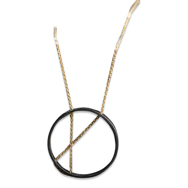 5ba301ea5 INNER CIRCLE Necklace and Earrings in Gold and Oxidized Sterling Silver
