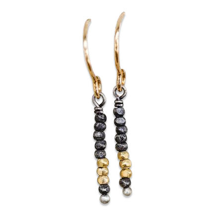 Oxidized Sterling and 18kt Gold Bead Earrings and Necklace