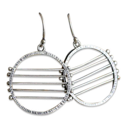 Double Circles Necklace and 5 Line Horizon Earrings