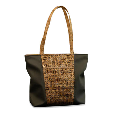 "13""H x 17""W x 5""D Vegan friendly cork & PVC-free faux leather purse lined with 100% organic cotton produced in Fair Trade certified facility. Made in USA. Choice of colors: Cork Print with Greige Leather - Solid Cork with Black Leather - Solid Cork with Greige Leather."