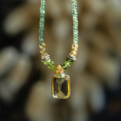 Green Apatite with Citrine Drop Necklace