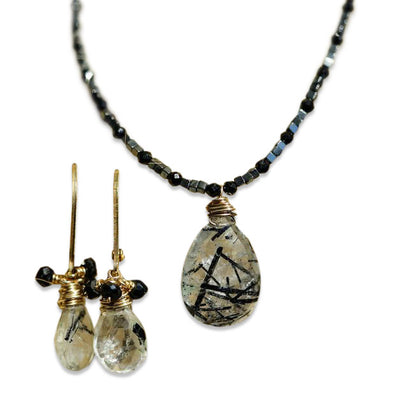 Black Tourmaline Quartz Necklace and Earrings