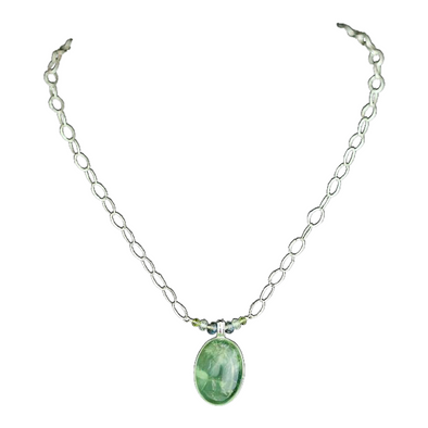 Prehnite Pendant Bar Necklace
