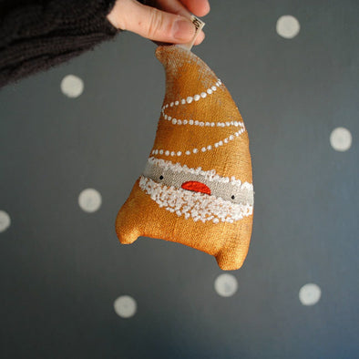Hand Painted Linen Santa Ornament
